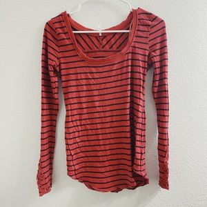 FREE PEOPLE RED STRIPED LONG SLEEVE WITH CUTE CUFF